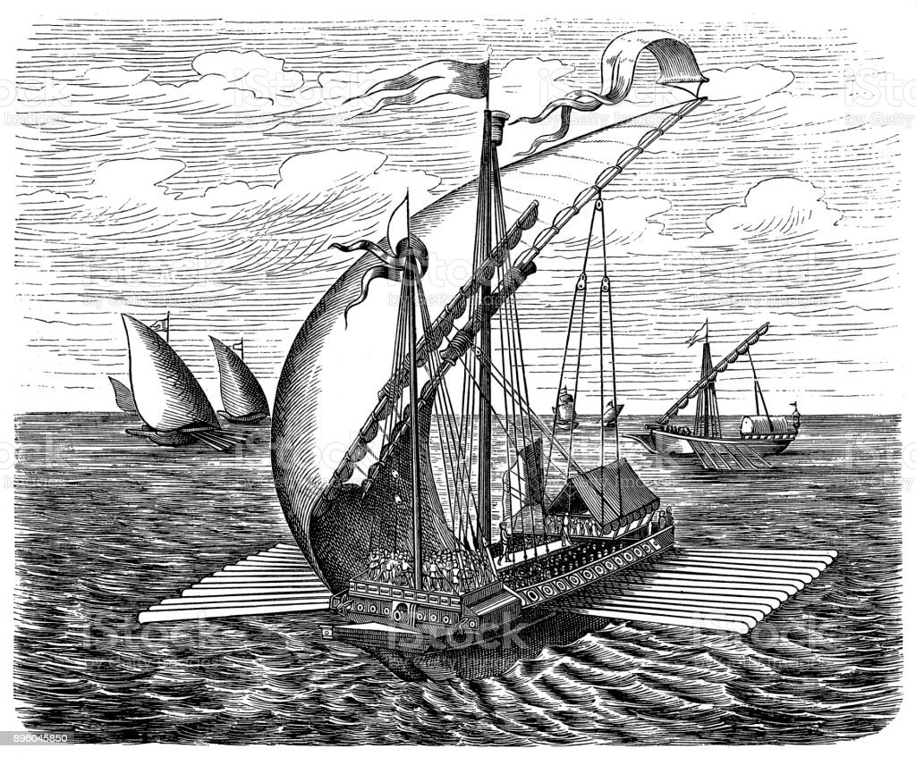 Venetian galley, 16th century vector art illustration