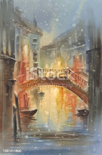 Venetian night lights with snow watercolor landscape. A canal with gondolas under the bridge. Twilight colors