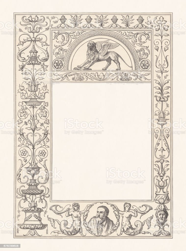 Venetian renaissance frame with copy space, wood engraving, published 1884 vector art illustration