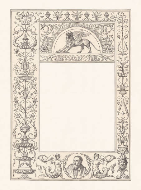 venetian renaissance frame with copy space, wood engraving, published 1884 - renaissance style stock illustrations, clip art, cartoons, & icons