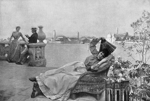 Venetian Veranda, A Spring Day in Venice by Julius LeBlanc Stewart - 19th Century
