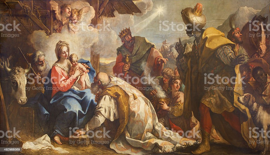 Venice - Adoration of Magi from Chiesa di San Zaccaria vector art illustration
