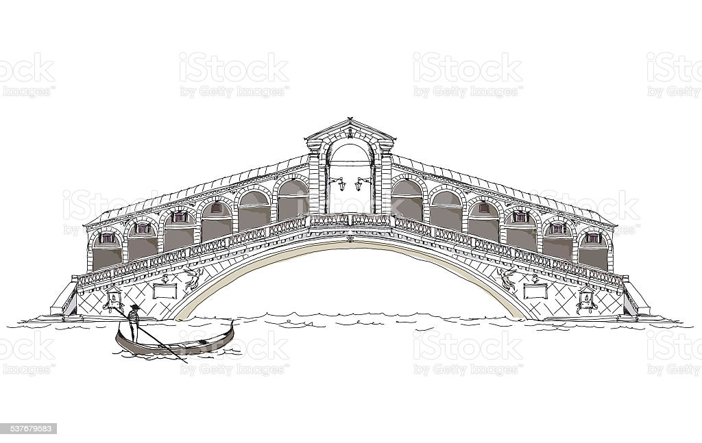 Venice, Bridge of all lovers, Sketch collection vector art illustration