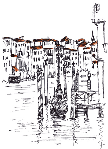 Venice, Grand canal, graphic black and white linear drawing, travel sketch. High quality illustration