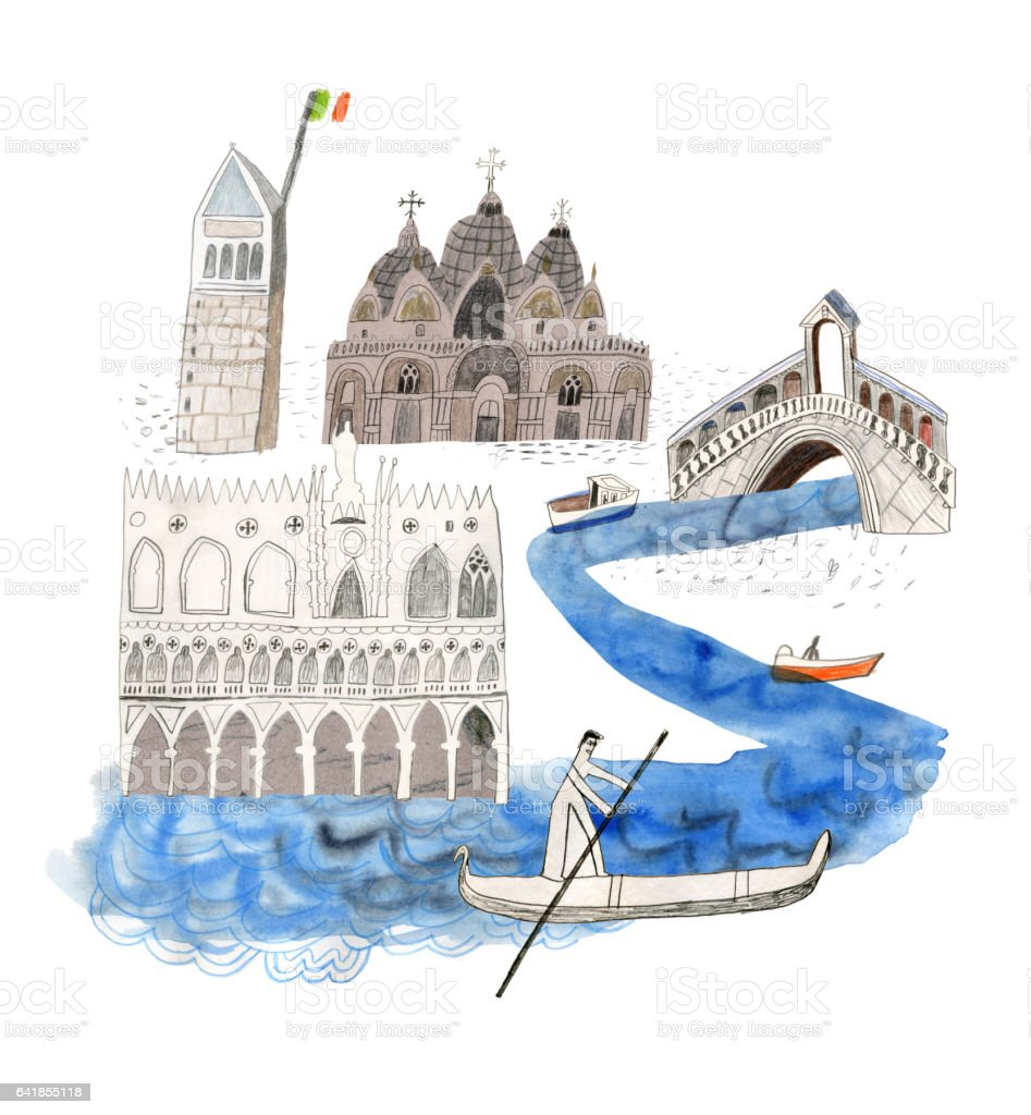 Venice in Italy vector art illustration