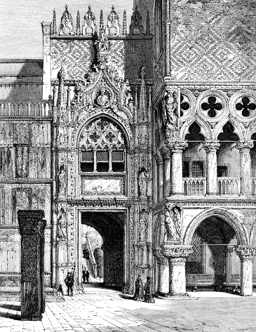 Venice Italy Doge's Palace - Venice Original edition from my own archives Source : Magasin Pittoresque 1861