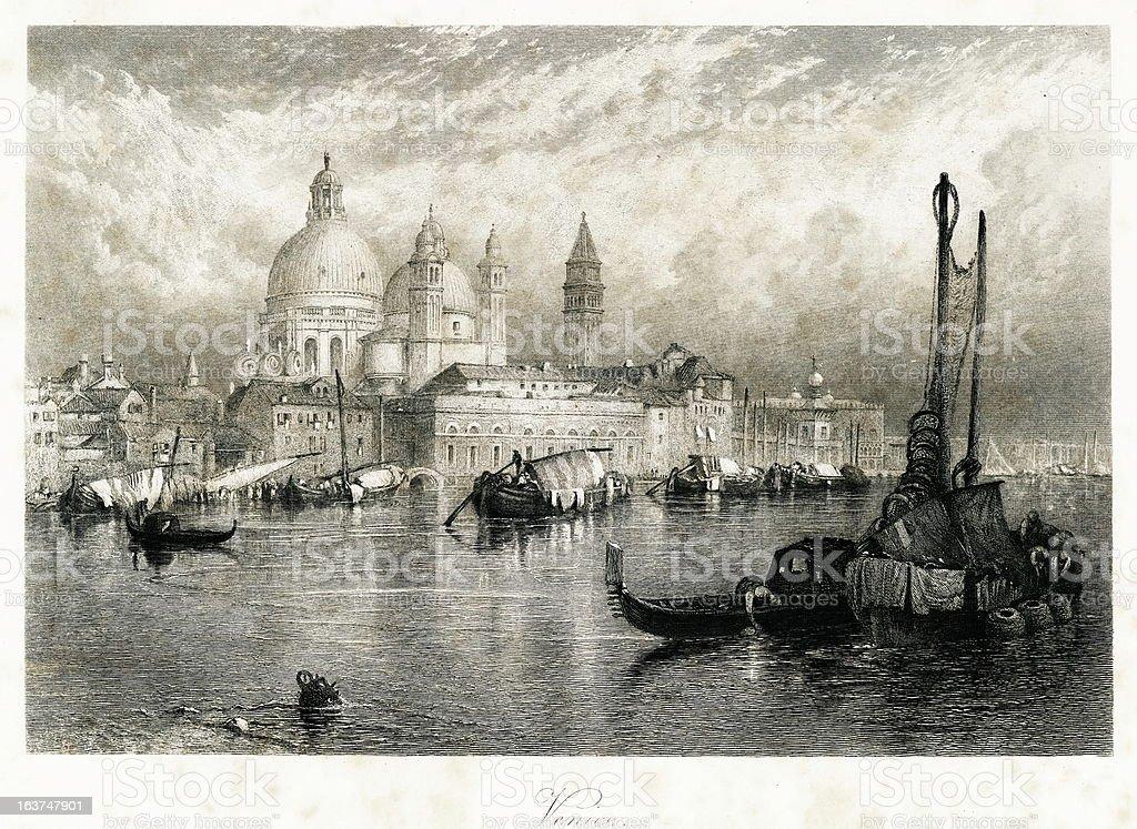 Venice, Italy(antique steel engraving) vector art illustration