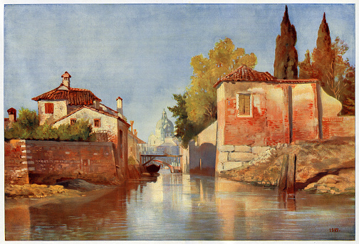 Venice looking towards Santa Maria della Salute Original edition from my own archives Source : Die Gartenlaube 1901 After Painting of Kaiserin Friedrich 1885