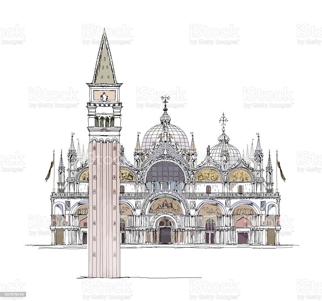 Venedig San Marco Kirche Und Turm In Der Stadt Sketchsammlung Stock ...