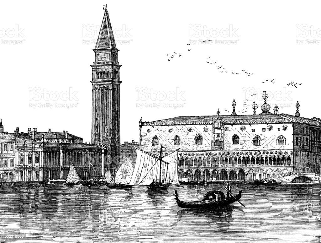 Venice - Victorian engraving vector art illustration