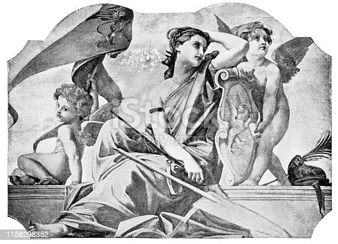 Venus and Putti by Paul-Jacques-Aime Baudry (circa 19th century). Vintage etching circa late 19th century.
