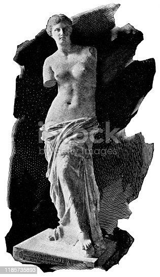 Venus de Milo Statue by Alexandros of Antioch (circa 2nd century BC). Vintage halftone etching circa late 19th century.