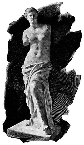 illustrations, cliparts, dessins animés et icônes de statue de vénus de milo par alexandros d'antioche - 2ème siècle av. j.-c. - venus