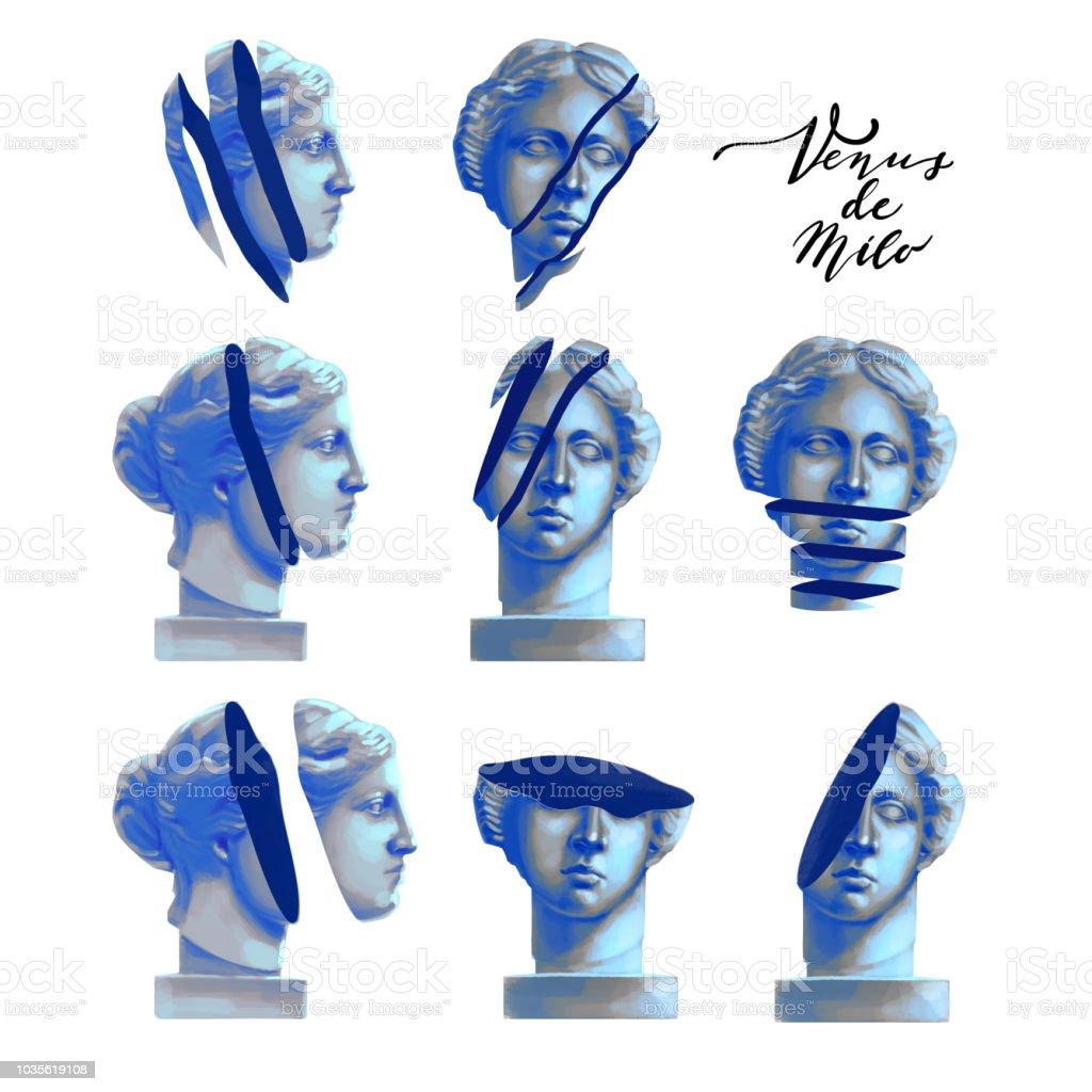 Venus de Milo statue with cut skin vector art illustration