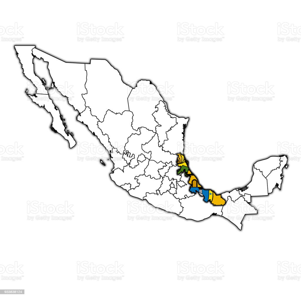 Veracruz State On Map With Administrative Divisions And Borders Of
