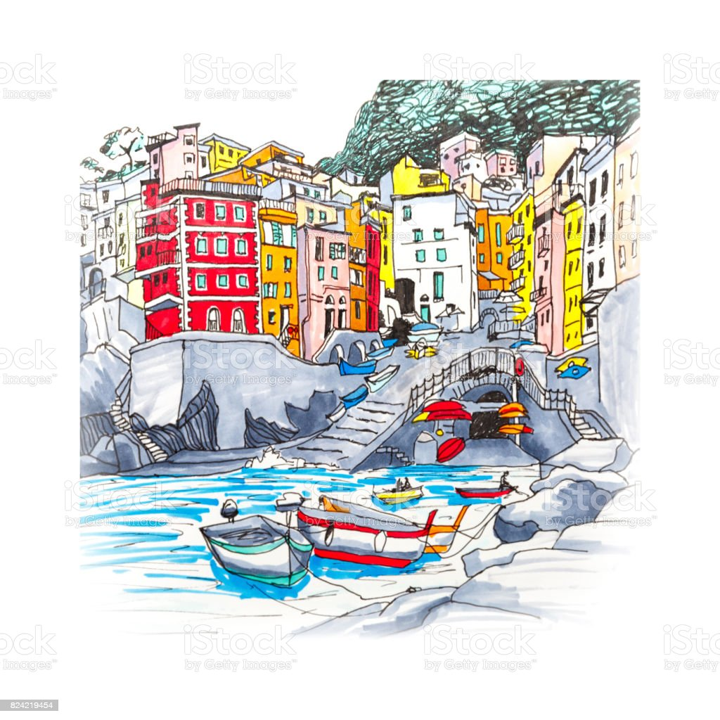 Vernazza, Cinque Terre, Liguria, Italy vector art illustration
