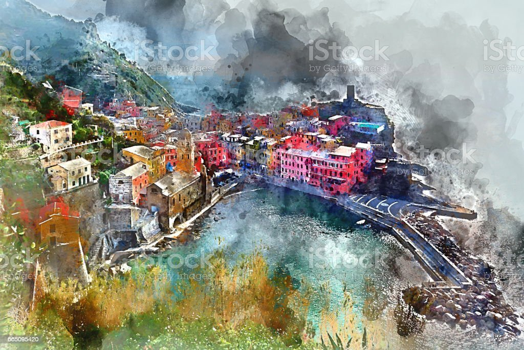 Vernazza vector art illustration