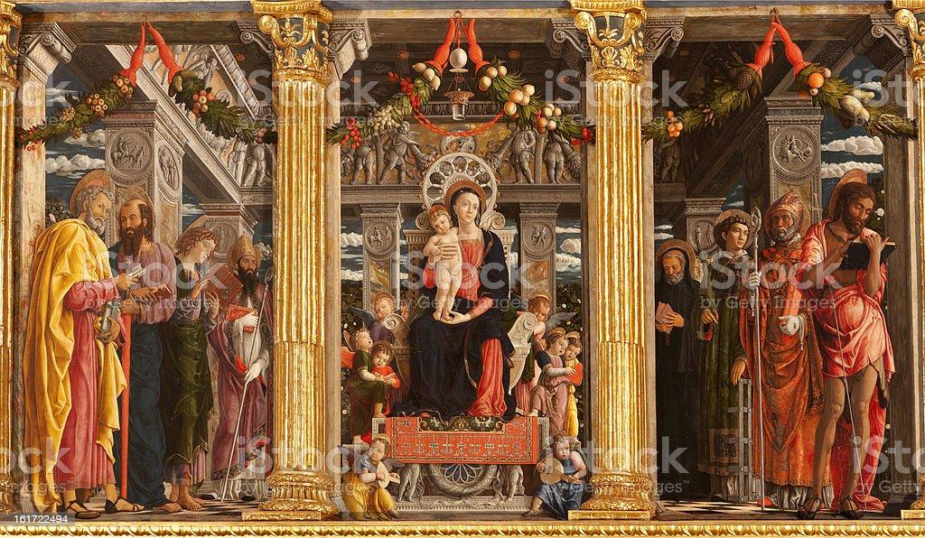 Verona - altar 'Maesta della Virgine' in San Zeno vector art illustration