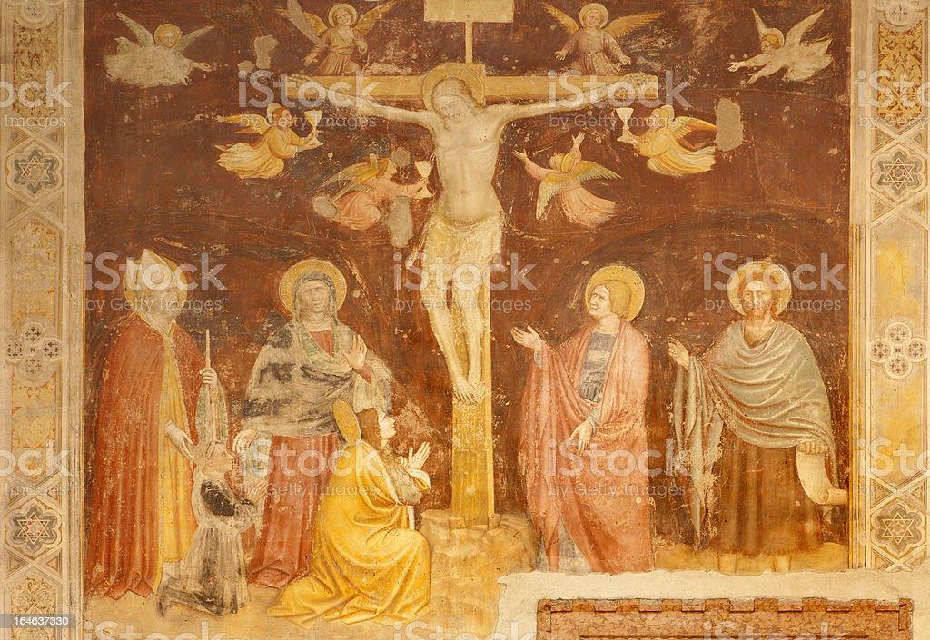Verona - Crucifixion fresco from basilica San Zeno royalty-free verona crucifixion fresco from basilica san zeno stock vector art & more images of architecture