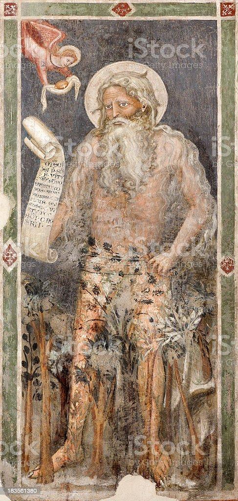 Verona - Fresco of Prophet  in church San Fermo vector art illustration