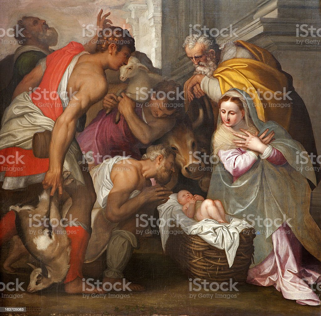 Verona - Nativity scene in San Bernardino church vector art illustration