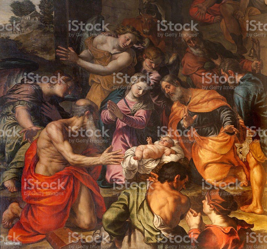 Verona - Paint of Nativity in church San Fermo Maggiore royalty-free stock vector art