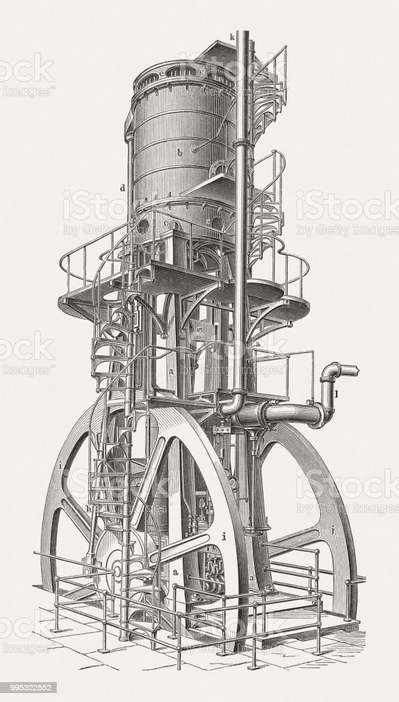 Vertical blowing engine, American product, wood engraving, published in 1897 vector art illustration