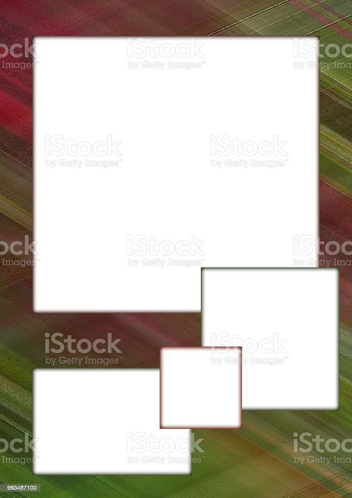 Vertical mock up template. Border with four white text boxes. Background with green, bordo lines. Frame for greeting cards, postcards, scrapbooking, photo albums, posters, flyers. Size A4 векторная иллюстрация