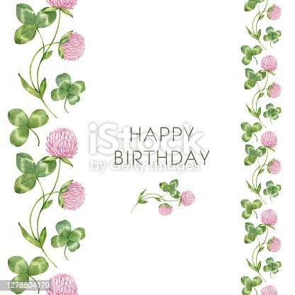 istock Vertical seamless border, frame of watercolor clover flowers and leaves, shamrock, trefoil, quarterfoil. Botanical drawing of the meadow pink clover. Happy birhday card. St. Patrick Day background 1278804179