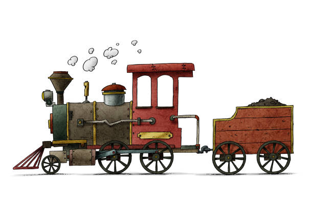 Very colorful cartoon illustration of a fun and old steam train vector art illustration
