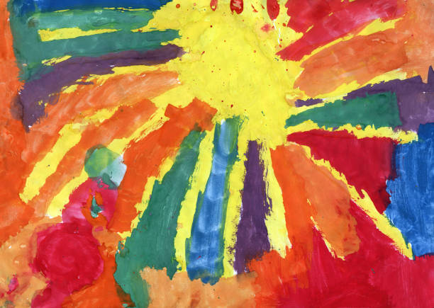Very colorful children's painting Child's Drawing art product stock illustrations