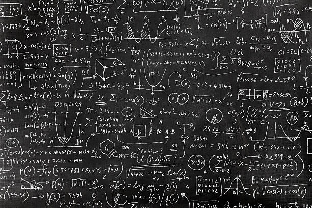 Very complicated math formula on blackboard Complicated math formula, full of symbols, drawings, numbers, variables and equations written on a blackboard with white chalk. mathematical symbol stock illustrations