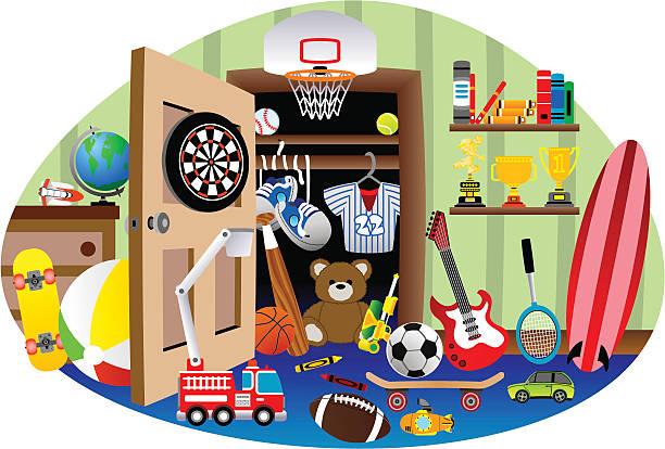 Very Messy Room vector art illustration