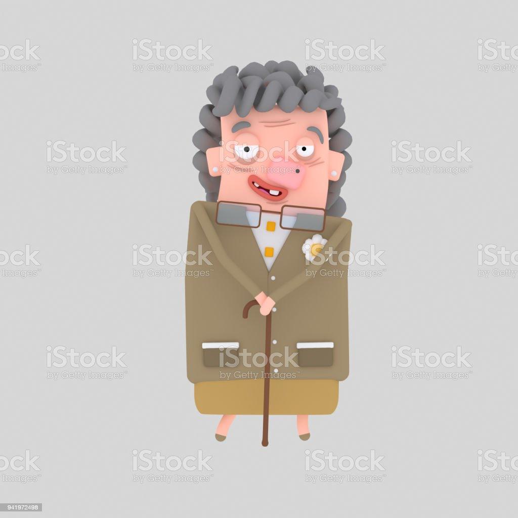 Muy anciana sosteniendo un palo. - ilustración de arte vectorial