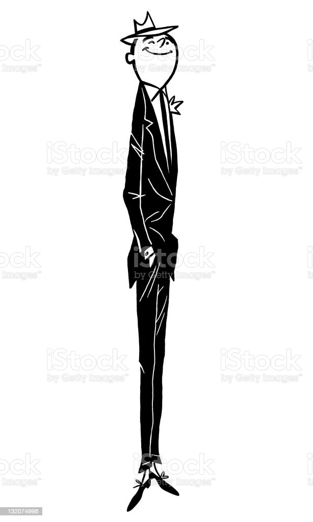 Very Tall Skinny Man vector art illustration