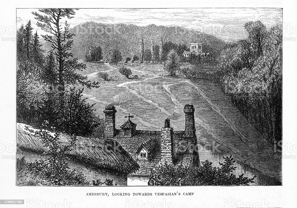 Vespasian's Camp Monastery in Amesbury, England Engraving vector art illustration