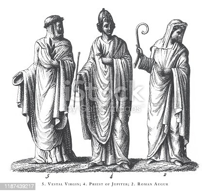 Vestal Virgin, Priest of Jupiter, Roman Augur, Legendary and Mythological Scenes and Figures of Greece and Rome Engraving Antique Illustration, Published 1851., Source: Original edition from my own archives. Copyright has expired on this artwork. Digitally restored.