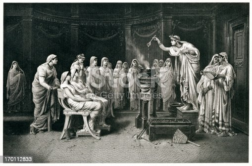 Engraving From 1882 Featuring The Vestal Virgins Of Ancient Rome.