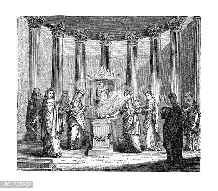 19th-century illustration of Vestal Virgins Serving in the Temple. Original artwork published in