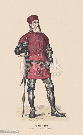 istock Vettor Pisani (Venetian admiral, 1324-1380), hand-colored wood engraving, published c.1880 1331063786