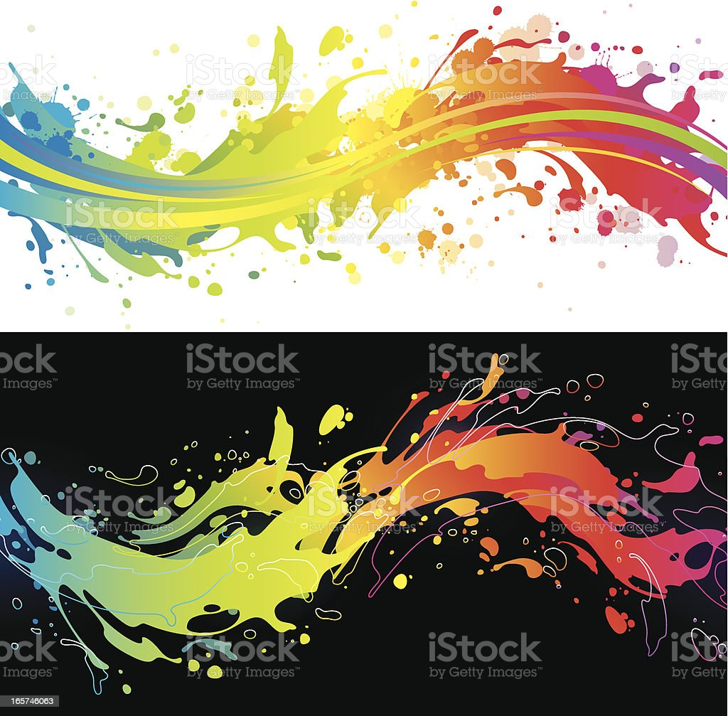 Vibrant rainbow splash backgrounds vector art illustration