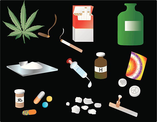 stockillustraties, clipart, cartoons en iconen met vices - amfetamine