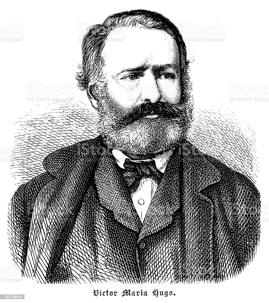 Victor Hugo - Antique Engraved Portrait royalty-free victor hugo antique engraved portrait stock vector art & more images of 19th century