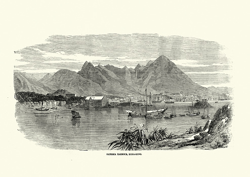 Vintage illustration of Victoria harbour, Hong Kong, 1850s, 19th Century