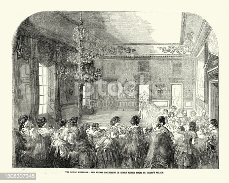 istock Victoria Princess Royal,  bridal procession in Queen Anne's Room, St James's Palace 1308307345