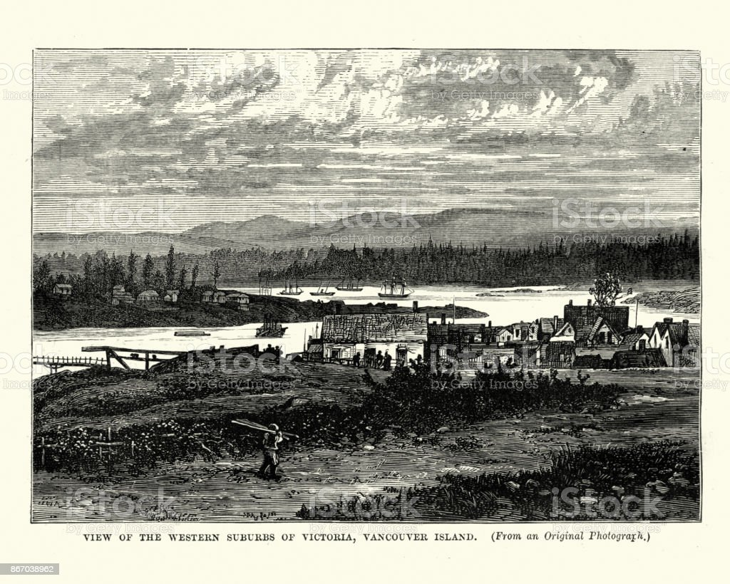 Victoria, Vancouver Island, 19th Century vector art illustration
