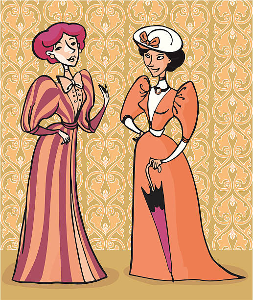 Victorial ladies Two ladies dressed in the 1900 fashion. Wallpaper in the background. All elements grouped on separate layers. 1900 stock illustrations