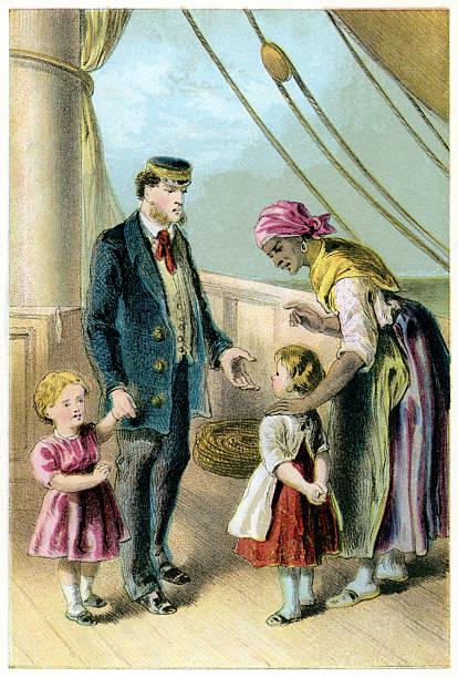 Victorian Afro-Caribbean nurse, children and officer on board ship vector art illustration