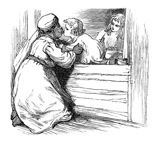 Victorian Afro-Caribbean nurse kissing children 'Good Morning' vector art illustration