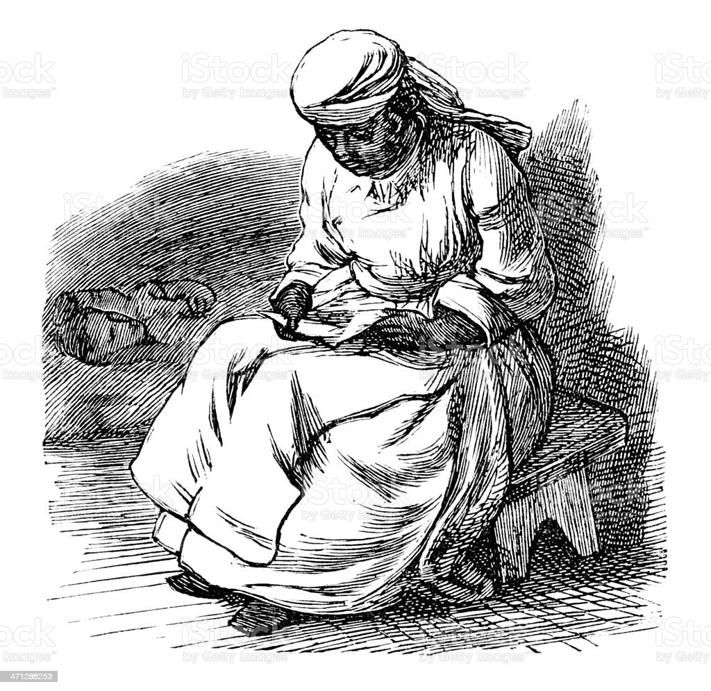 Victorian Afro-Caribbean woman studying a letter vector art illustration